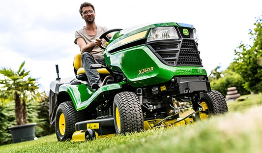 A John Deere riding mower